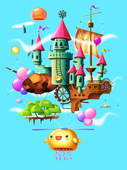 The Wind Castle / El Castillo del Viento. (Juan Casini) Tags: sky game castle animals kids wind background math kawaii educational vector app ipad characterdesign