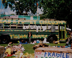bread and puppet bus lawrence MA (pineconemonk) Tags: camera summer film analog ma toy lawrence kodak 10 110 pocket expired instamatic baked 2014 fujicolor c41