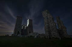 Reculvour towers (Trav155) Tags: uk sea beach grass night clouds stars kent ruins long exposure fuji time towers xt