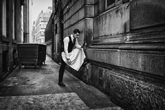 Full Support (Ross Magrath) Tags: street camera city uk portrait england bw white black colour face cont
