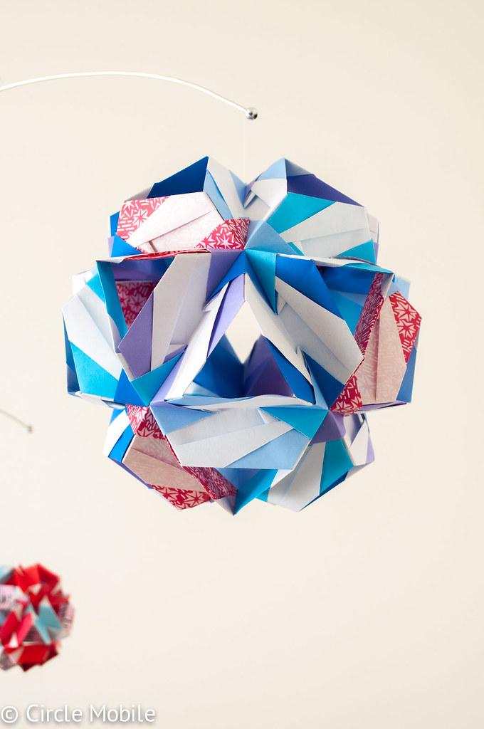 Birthday Mobile Large Ball Circle Tags Origami Kusudama Sonobes Circlemobile
