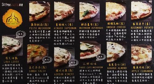 So Free Pizza menu