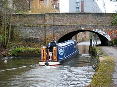 Manchester canal with narrow boat and bridge (rossendale2016) Tags: bridge boat narrow canal manchester water pleasure industrial stone pedestrian narrowboat locks transport diesel power powered engine tiller steering houseboat house living accomodation licensed