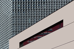 Direct and Reflection (JanNiezen) Tags: abstract architecture lines squares beige red blue black reflection sun shadows