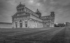Pisa - Cathedral (Wizard CG) Tags: cathedral pisa europe italian architecture italy piazza dei miracoli del duomo tuscany unesco world heritage site catholic building bw church blackandwhite monochrome leaning tower historic city centre toscana italia hdr buildings square olympus epl7