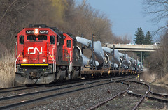 Beauty Blade Train (Joseph Bishop) Tags: cn cndundassubdivision copetown 5452 5408 emd sd60 trains train track tracks railfan railroad railway rail rails windmill blades