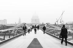 Into the mist (Mister Rad) Tags: nikond600 nikon50mmf14g london southwark cityoflondon stpaulscathedral millenniumbridge blackandwhite