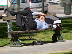 shoes off (sebasti10_Candid) Tags: business travel man park bench brussels businessman nap traveller relaxing parkbench luggage suitcase shoes taken off briefcase suit eyes shut sunny weather warm day nice hot exhaustion relaxed siesta travelling fatigue tired sleep smak killing time well dressed traveler socks everywhere