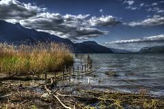 Le lac du bourget (jean-lucnehlig) Tags: lac lake bourget savoie chambery roseaux plage beach sun clouds mountains montagnes nuages ciel