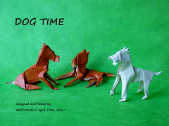 DOG TIME (PICARUELO) Tags: papiroflexia papel paper origami dog perro elephat hide