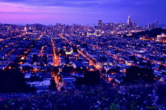 Cityscape of San Francisco (miltonsun) Tags: cityscape sanfrancisco sfskyline skyline bluehour longexposure dusk seascape bay ngc bayarea california westcoast landscape outdoor clouds sky water rocks mountains rollinghills architecture building evening sunset nightphotography nightscene traillights road wildflowers