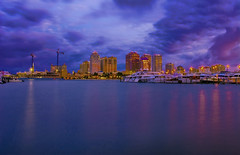 City of West Palm Beach, Palm Beach County, Florida, USA (Jorge Marco Molina) Tags: westpalmbeach palmbeachcounty city cityscape urban downtown skyline southflorida density centralbusinessdistrict skyscraper building architecture commercialproperty cosmopolitan metro metropolitan metropolis sunshinestate realestate highrise marina nautical longexposure boating fishing clouds