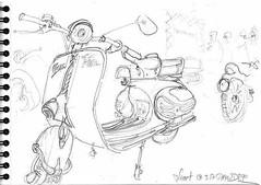 Vespa verte (Croctoo) Tags: croctoo croctoofr croquis vespa niort crayon scooter