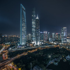 Elevated view of Shanghai skyline at night (HIKARU Pan) Tags: 1dx canon canontse17mmf4l eos1dx jinmaotower longexposure lujiazui shanghaitower shanghaiworldfinancialcenter architecture business cityscape downtown evening illuminated modern night nightscape noperson photography outdoors skyline skyscraper tallbuildings urban shanghaiworldfinancialcenterswfc
