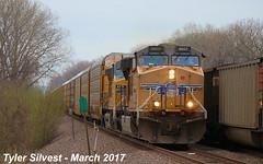 UP 6957 Leads WB Autorack Bonner Springs, KS 3-31-17 (KansasScanner) Tags: up unionpacific railroad train bonnersprings kansas