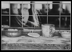 Photo artistry - Cup by the window (mcleod.robbie) Tags: black white woman girl finearts moody cup window