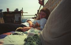 roof (flexderfuchs) Tags: essaouira morocco rooftop terrace cat summer analog girl porst 135s 35mm kodak 400