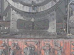 131.060 - Kunst 5 (Painting - Malen - Zeichnen) Tags: 131060 dampflok rumänischedampflok kunst künstlerischeveränderung bildbearbeitung farben wärmebild bleistift neon sepia 3fachhdr hdr