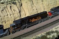 Far from home (rolfstumpf) Tags: usa california cajonpass drgw trains locomotive emd sd50 black summit cut mountains railway railroad