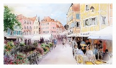 Colmar - Alsace - France (guymoll) Tags: colmar alsace france sketch croquis aquarelle watercolour watercolor lauch rivière terrasse bistro colombages timberedhouses