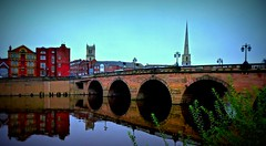 Archway reflections... (MickyFlick) Tags: worcesterbridge worcester england worcestershire worcestercity riversevern a44 reflection mickyflick churchtower churchspire riverside buildings cityscape