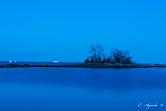 Blue hour (E. Aguedo) Tags: blue hour goat island light exposure trees water warwick long providence river salter grove state park