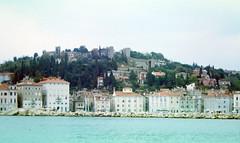 Piran from Boat 97_070 (Andras, Fulop) Tags: slovenia anno 1997 colorslide positivefilm archive landscape town sea water
