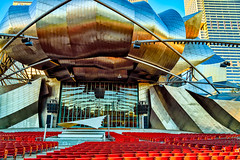 Jay Pritzker Pavilion (Stefan Schafer) Tags: chicago architecture modern metal illinois outdoor music jaypritzker stainless concert hall frankgehry urban geometry reflection glow design curves blue milleniumpark building cityscape nikon d750 pavilion