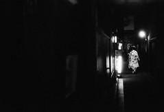 Sightings of a geisha (2) (the past tense of draw is drew) Tags: geisha japan kyoto leica m2 summitar neopan fujifilm travel analogue 9000f monochrome black white canoscan film