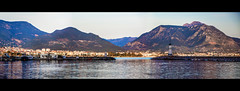 Dusk (Melissa Maples) Tags: alanya turkey türkiye asia 土耳其 nikon d3300 ニコン 尼康 nikkor afs 18200mm f3556g 18200mmf3556g vr widescreen letterbox panoramic panorama spring dusk evening mountains fener lighthouse harbour marina mediterranean sea water