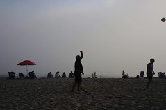 Untitled (ajkpix) Tags: street outdoors beach sand ocean people umbrella red ball lagunabeach california