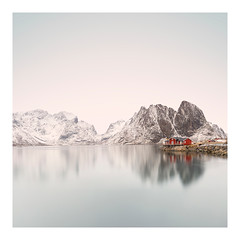 Quietude (Artery-Crea) Tags: réflexion lake redcabine hut mountains winter water lofoten norway fineartphotography longexposure juliencarcano