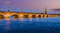Pont de Pierre-Bordeaux (Arnaud Bertrande | Photographe) Tags: aquitaine bordeaux garonne gironde heurebleue nuage patrimoine pontdepierre unesco églisestmichel