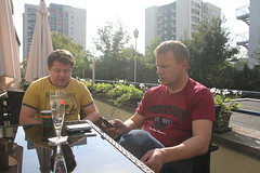 Per and Kjell outside our room in central Stuttgart!