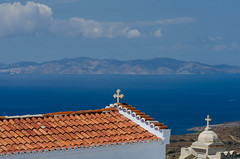 Syros from Tinos (with love) (al3x!s) Tags: travel blue sea orange color church nature landscape greece grce cyclades tinos syros egeo anthropic monikimiseostheotokoukechrovo monikimiseostheotokoukechrovouniou