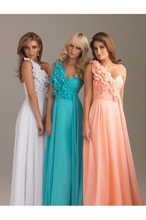 Fabulous One Floral Shoulder Chiffon Long Coral Prom Dress