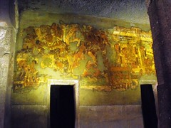 Ajanta Caves, May 2012 (leonyaakov) Tags: architecture painting stupa buddhist maharashtra monuments pillars buddhisttemple aurangabad stoneart rockcarving ajantacaves eloracaves  marculescueugendreamsoflightportal