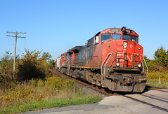 CN 2519 West at Powerline Road (Joseph Bishop) Tags: road railroad cn train track crossing tracks rail railway trains rails powerline poles ge telegraph railfan brantford 2519 codeline c449lw
