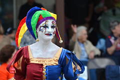 Jester (TomSales) Tags: comal county fair parade 2014 sigma 50150mm f28 os nikon d7100 tomsales new braunfels texas tx nikonsigma jester face paint dress candid clown 50150mmf28exdcoshsm
