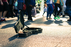 nickel for a tune? (Asher Isbrucker) Tags: street city people urban music feet vancouver open guitar case sidewalk change busker busking busk lowangle asherkaye