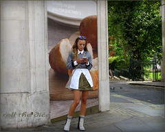 `1186 (roll the dice) Tags: uk urban fish sexy london art classic girl westminster sunglasses fashion sign mobile strand shopping advertising bread funny pretty phone legs boots candid streetphotography skirt stranger tourist dirty tex smell unknown brunette wisdom mad unaware wc2 londonist