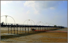 Southport Pier (* RICHARD M (Over 5 million views)) Tags: england tractor beach architecture coast pier seaside sand piers landmarks engineering coastal shore beaches coastline resorts southport scapes merseyside sefton southportpier southportbeach seasideresorts