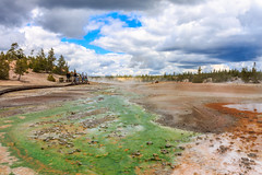 Color palette -2841 (Always Shooting) Tags: blue red summer sky orange usa brown tree green nature yellow forest canon eos day unitedstatesofamerica wideangle roadtrip yellowstonenationalpark yellowstone noon wyoming geyser hotspring bacteria canoneos lanscape wy canoneosrebel extremophiles canoneosrebelt3