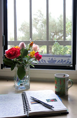 sitting by the window (Marlis1) Tags: windows roses coffee diary kaffee rosen tagebuch marlis1 ilroseto tortosacataluaespaa canong15