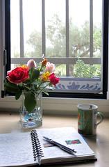 sitting by the window (Marlis1) Tags: windows roses coffee diary kaffee rosen tagebuch marlis1 ilroseto tortosacataluñaespaña canong15