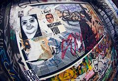 Watching You (Clayton Perry Photoworks) Tags: street autumn canada art fall vancouver graffiti bc wheatpaste fisheye gastown dtes explorebc explorecanada