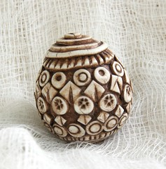 large hollow ivory geometric bead (SelenaAnne) Tags: beads handmade polymerclay hollow cernit premo polyclay fauxivory fauxbone