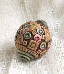 colored mosaic bead-- hollow (SelenaAnne) Tags: beads handmade polymerclay hollow cernit premo polyclay