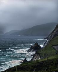 Rugged Beauty (montrealmaggie) Tags: ireland sea water foggy dingle cliffs