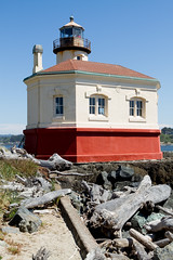 Coquille River Lighthouse.... 3 of 3 in set (Alan Vernon.) Tags: ocean light lighthouse house building fog oregon river lens coast pacific coastline fresnel beacon active coquille